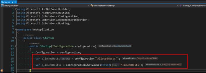 .net core config example 2.2 4