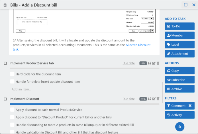 step 3 break down tasks - add a discount bill