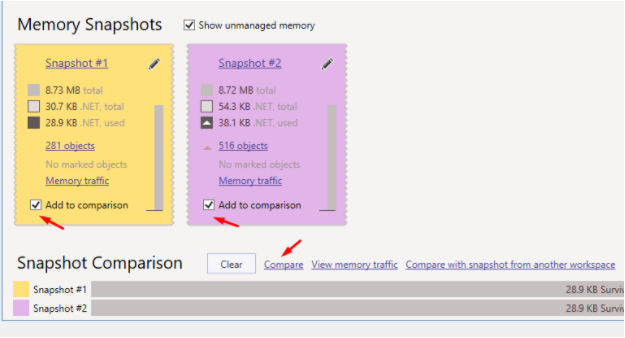 select two snapshots that you want to compare and click on the compare button