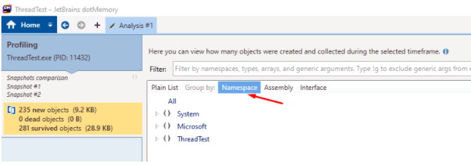 "In analysis windows, select the filter ""Namespace"""
