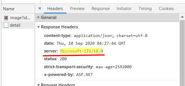 response header - Microsoft-IIS