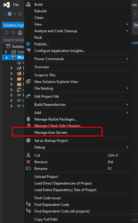 manage user secrets in Visual Studio