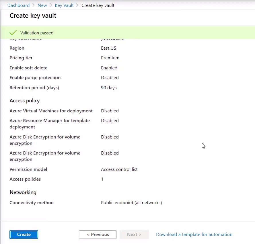 Create key vault in Azure portal 3
