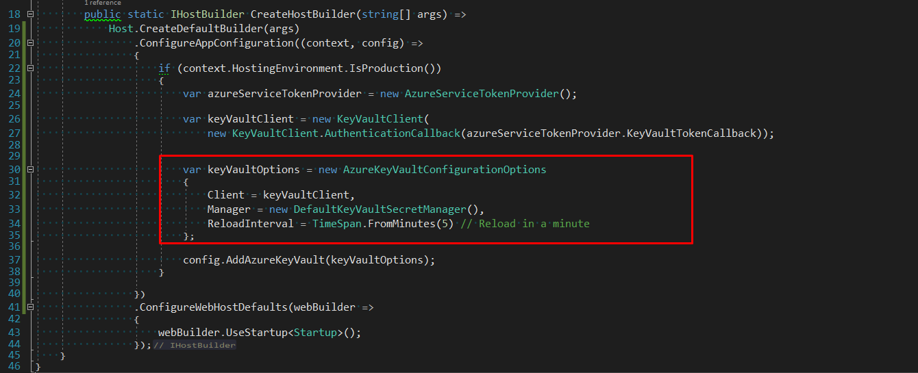 specify a ReloadInterval to reload the secrets from the Key Vault by updating the config for the Azure key vault