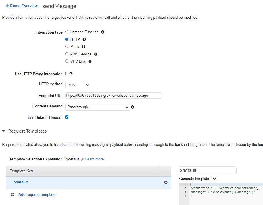 Configuration for Sendmessage