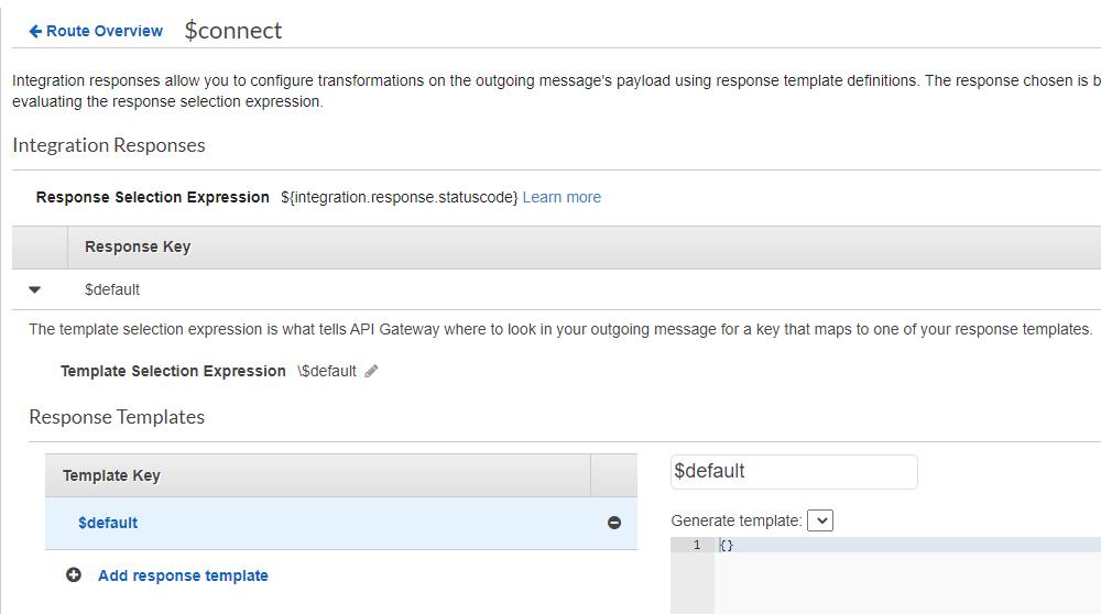 Set up a WebSocket API integration responses